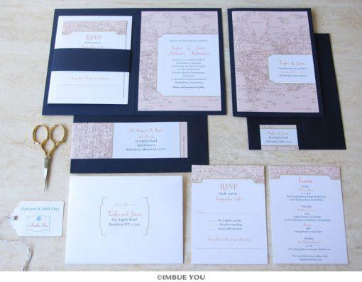 Travel theme wedding invitation set by Imbue You