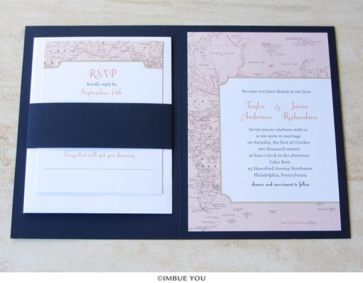 Travel theme wedding invitation with RSVP by Imbue You