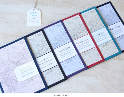 Travel theme wedding invitation colors by Imbue You