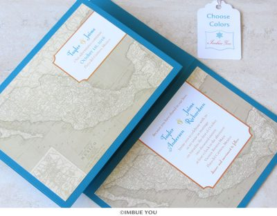 Mexico wedding invitation map by Imbue You