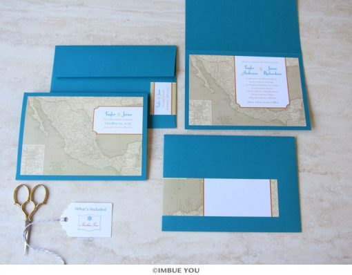 Mexico wedding invitation map booklet by Imbue You