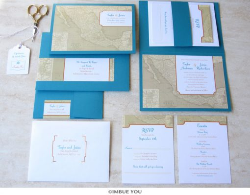 Mexico wedding invitation map set by Imbue You