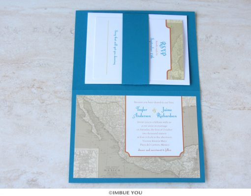 Mexico wedding invitation booklet map with RSVP by Imbue You