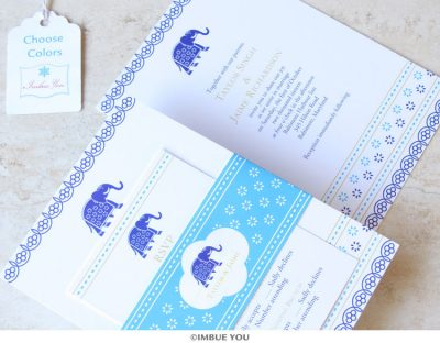 Indian elephant wedding invitation belly band by Imbue You