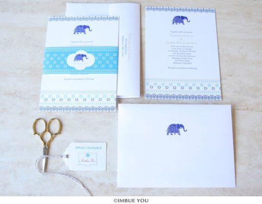 Indian elephant wedding invitation set by Imbue You