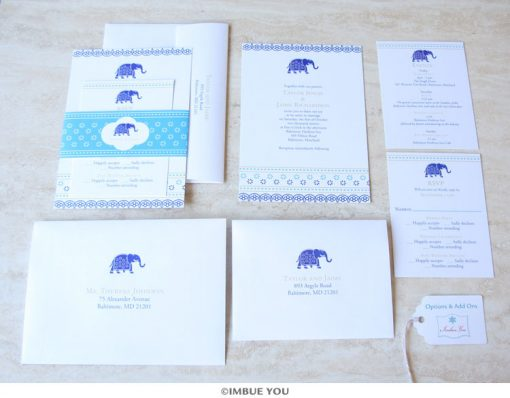 Indian elephant wedding invitation belly band set by Imbue You