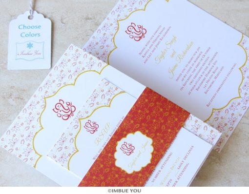 Indian Ganesh wedding invitation belly band by Imbue You