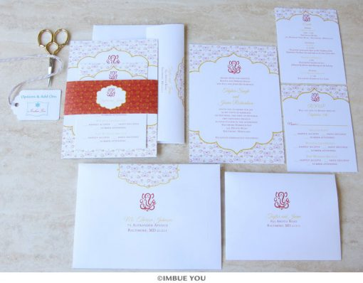 Indian Ganesh wedding invitation belly band set by Imbue You
