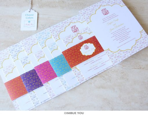 Indian Ganesh wedding invitation belly band colors by Imbue You