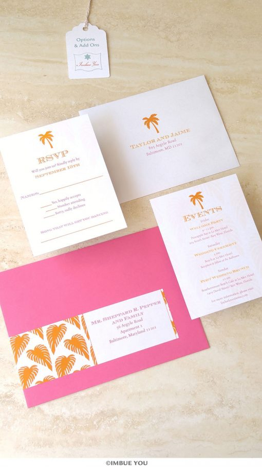 palm tree wedding RSVP and info card for beach wedding in orange and magenta by Imbue You
