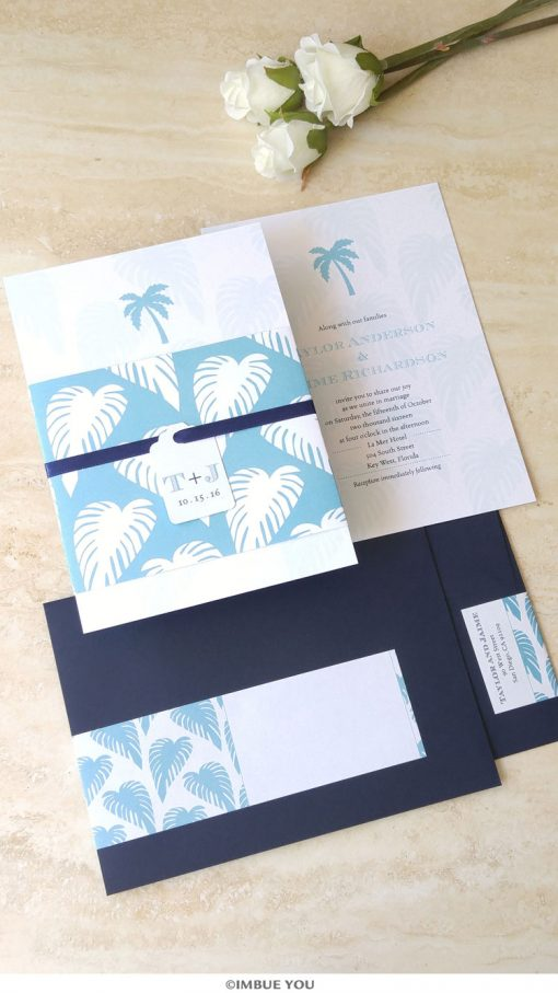 palm tree wedding invitation for beach wedding in aqua and navy by Imbue You