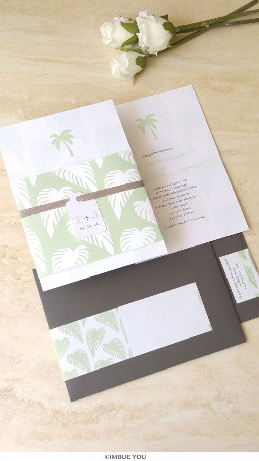 palm tree wedding invitation for beach wedding in mint and charcoal gray by Imbue You