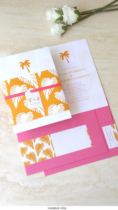palm tree wedding invitation for beach wedding in orange and fuchsia pink by Imbue You
