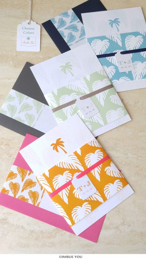 palm tree wedding invitation for beach wedding color options by Imbue You
