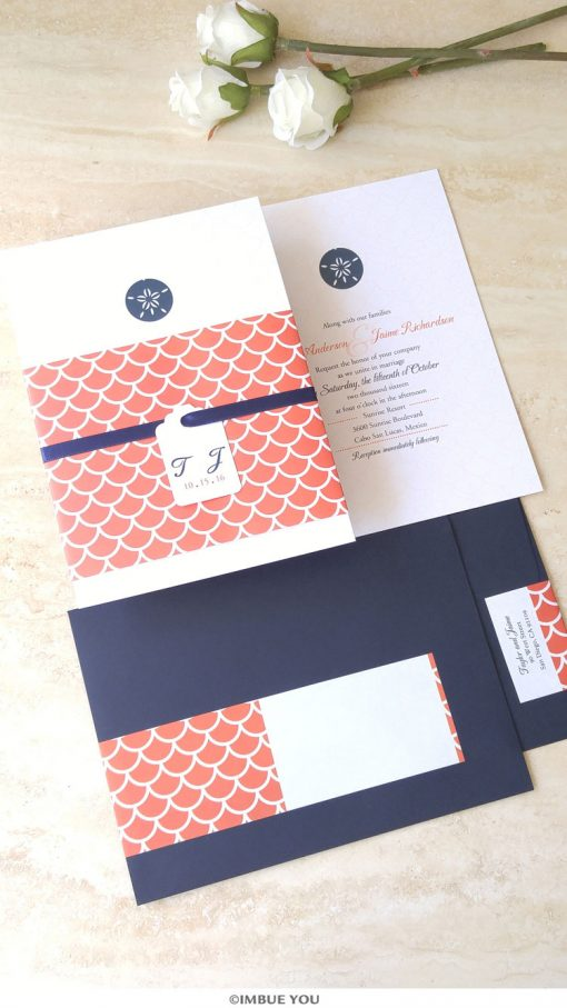 sand dollar wedding invitation for beach wedding in coral and navy by Imbue You