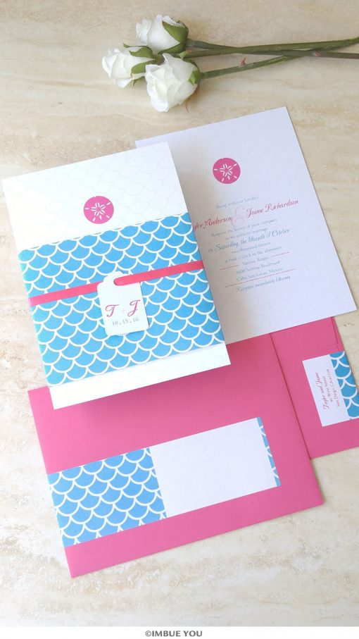 sand dollar wedding invitation for beach wedding in blue and fuchsia pink by Imbue You
