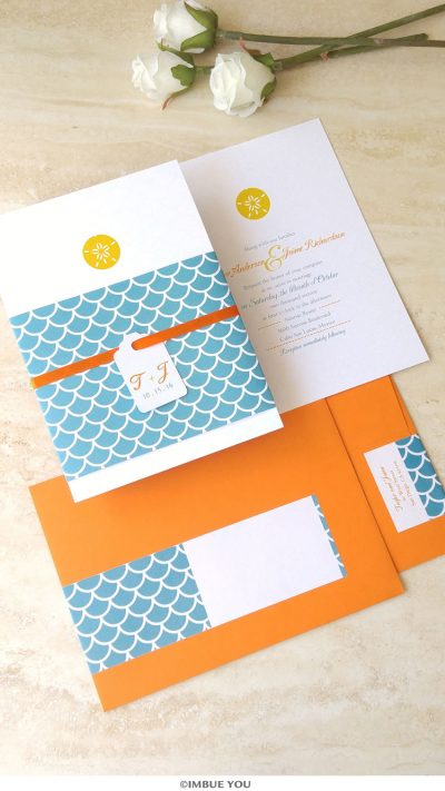 sand dollar wedding invitation for beach wedding in teal and orange by Imbue You