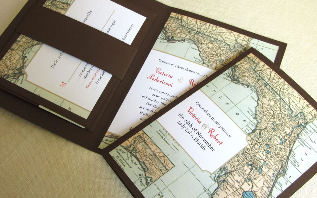Deep Coral and Brown Florida Map Invitation