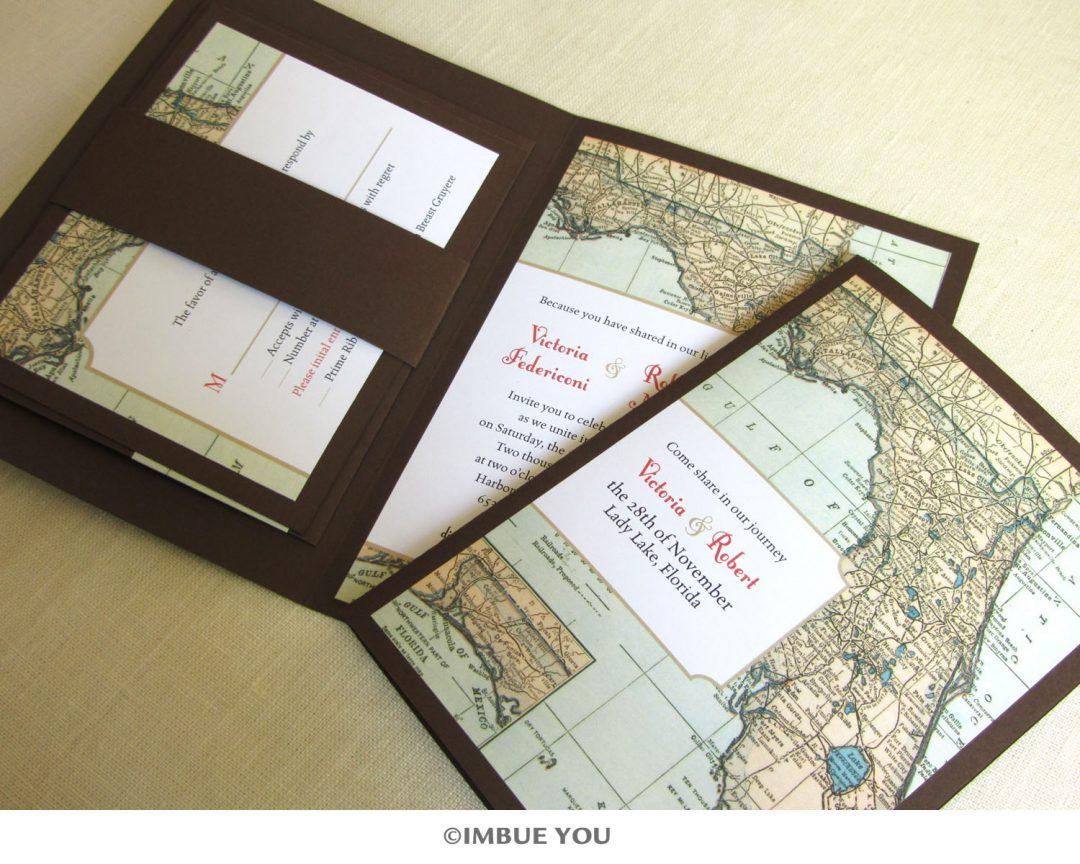 Deep Coral and Brown Florida Map Invitation