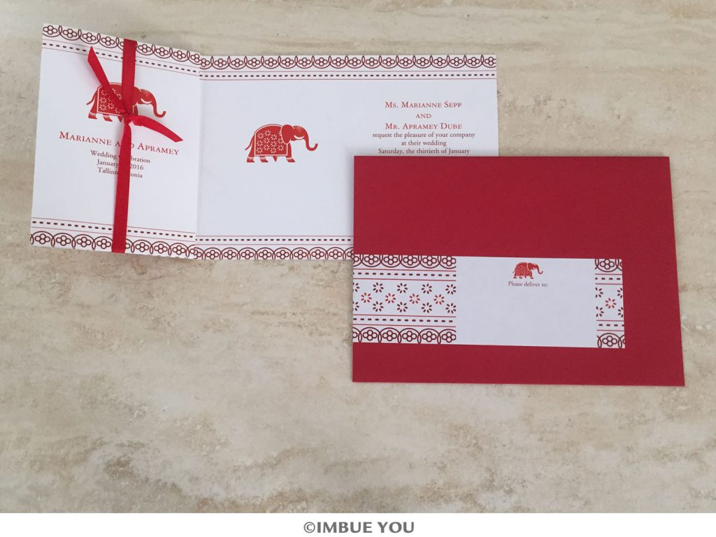 red and merlot indian elephant wedding invitation by Imbue You