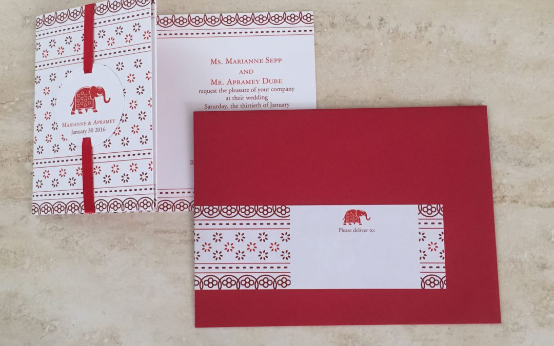 Poppy Red and Burgundy Indian Elephant Invitation