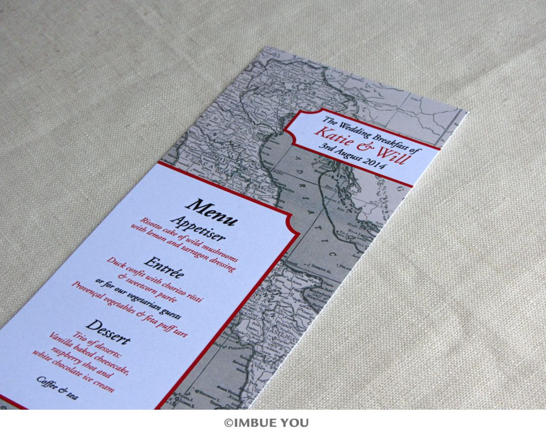 Red, Black and Champagne Italy Map Menu
