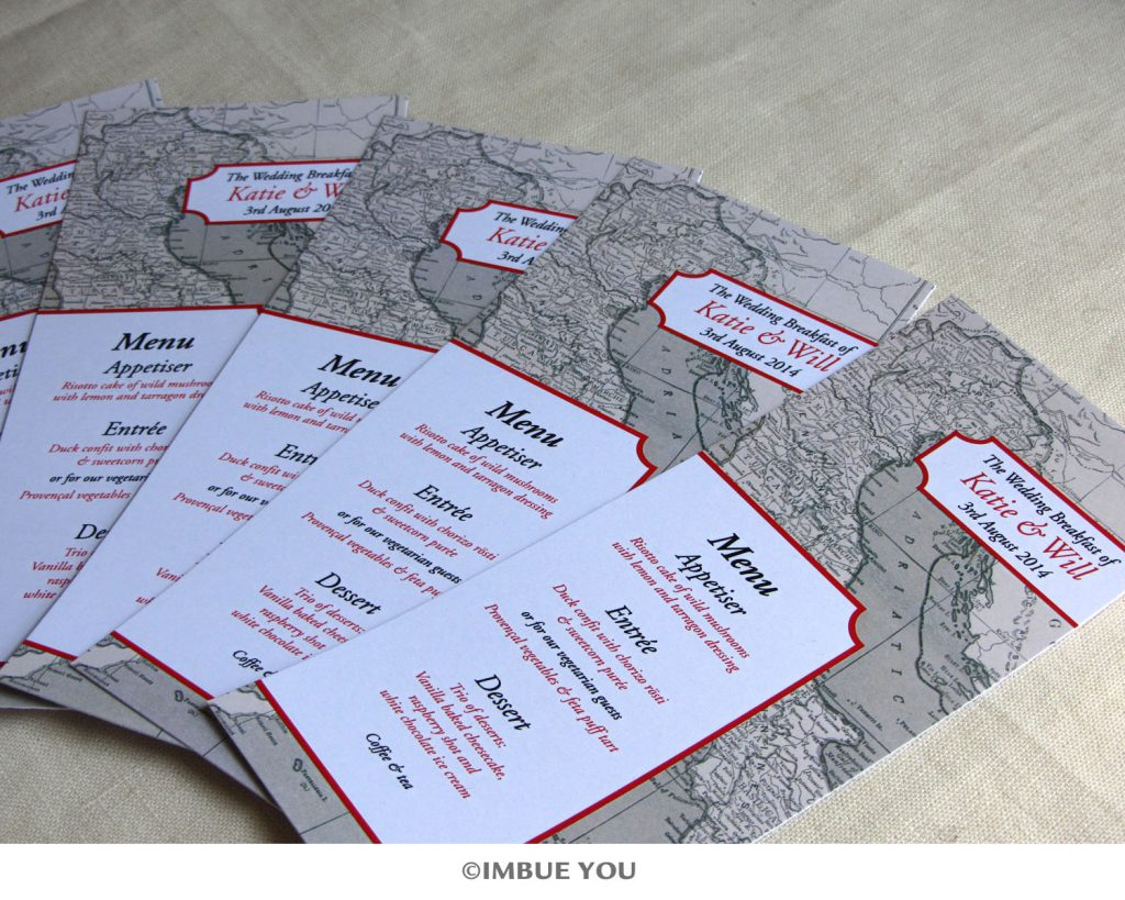 red black and champagne Italy wedding map menus by Imbue You